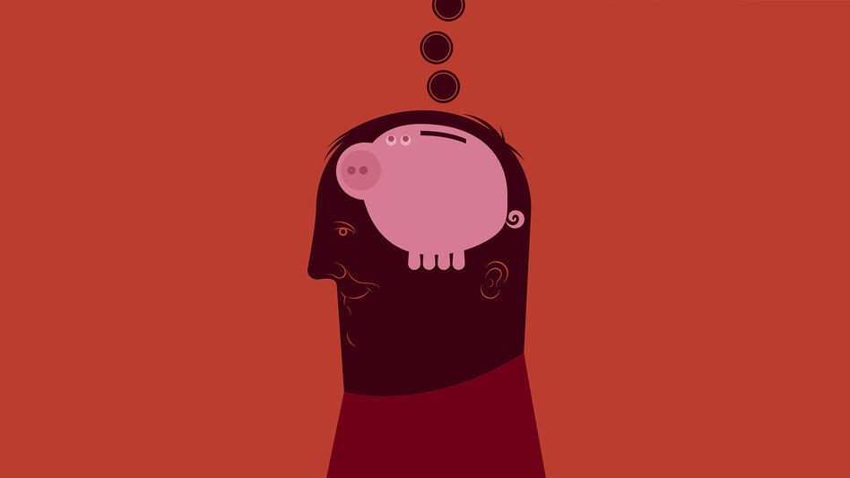 Illustration of a man with a piggy bank for a brain.