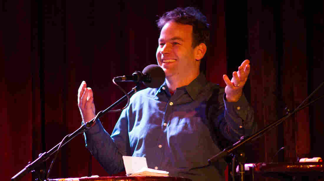 Mike Birbiglia on the Ask Me Another stage at The Bell House in Brooklyn, N.Y.