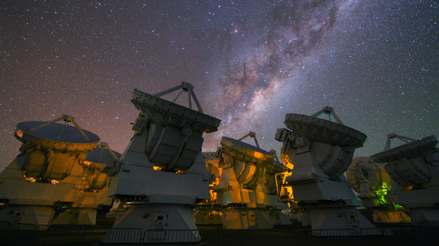 Observing the multitude of galaxies in our own universe is a piece of cake. Observing the multiverse, if such a thing exists, seems impossible. Above, the Milky Way rises above the ESO's ALMA observatory in Chile. (ESO)