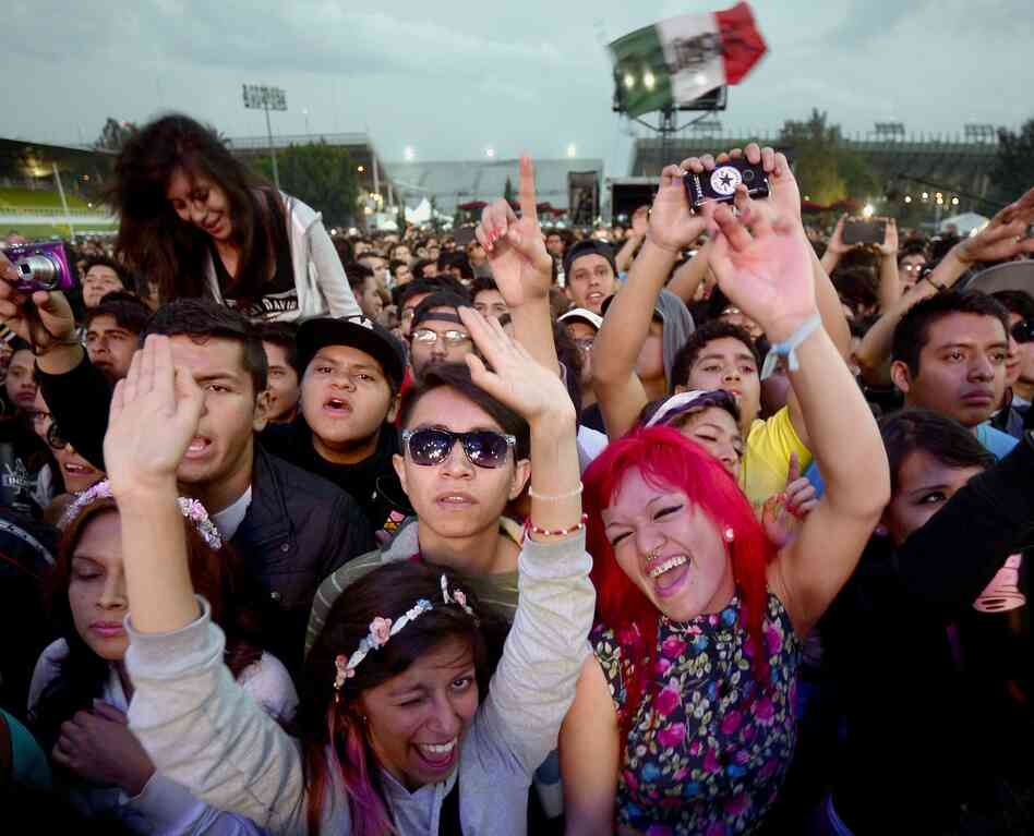 Fans of Mexican rockabilly band Rebel Cats watch a performance during the fourth day of the Vive Latino music festival.