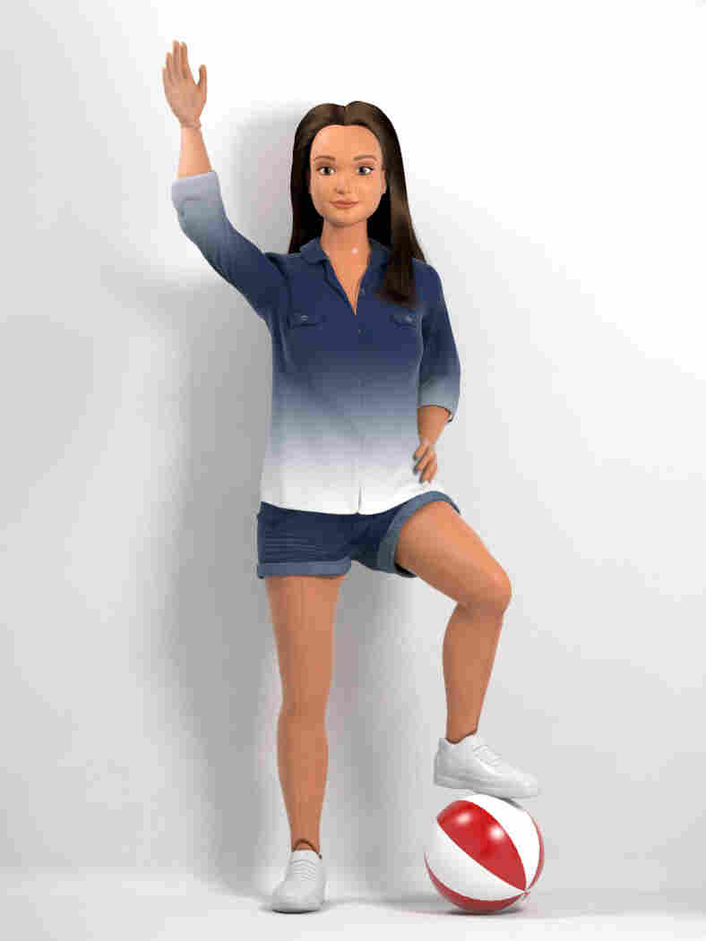 """Hello world: This concept for the """"normal"""" fashion doll wears minimal makeup, jean shorts and a simple blouse."""