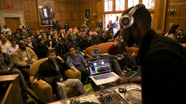 9th Wonder addresses Harvard students in a scene from the documentary The Hip-Hop Fellow, which chronicles a year the producer spent teaching hip-hop culture as an academic subject.