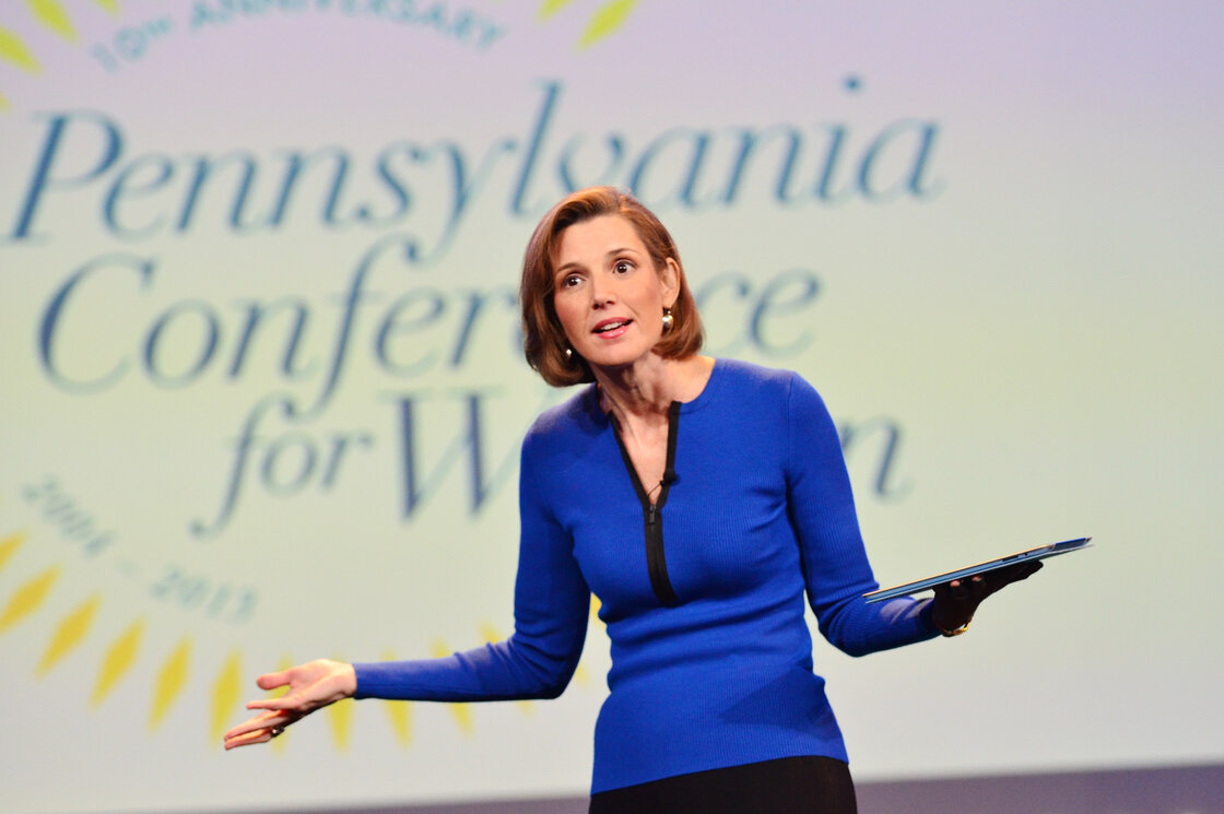"Sallie Krawcheck speaks onstage at the Pennsylvania Conference for Women last year. She says when it comes to negotiating salary, ""men ask and women dont."""