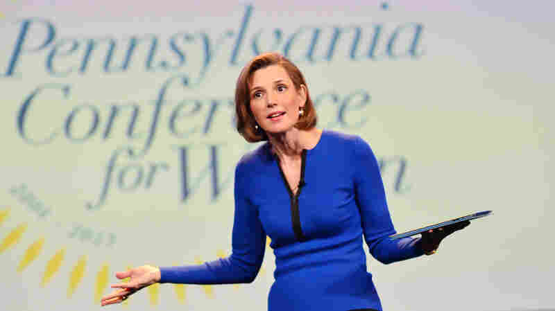 "Sallie Krawcheck speaks onstage at the Pennsylvania Conference for Women last year. She says when it comes to negotiating salary, ""men ask and women don't."""