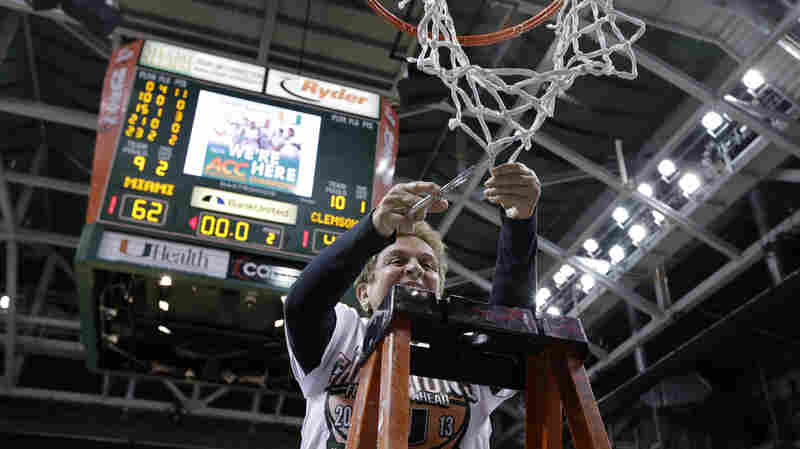 University of Miami President Donna Shalala cuts down the net after a basketball game against Clemson last year.