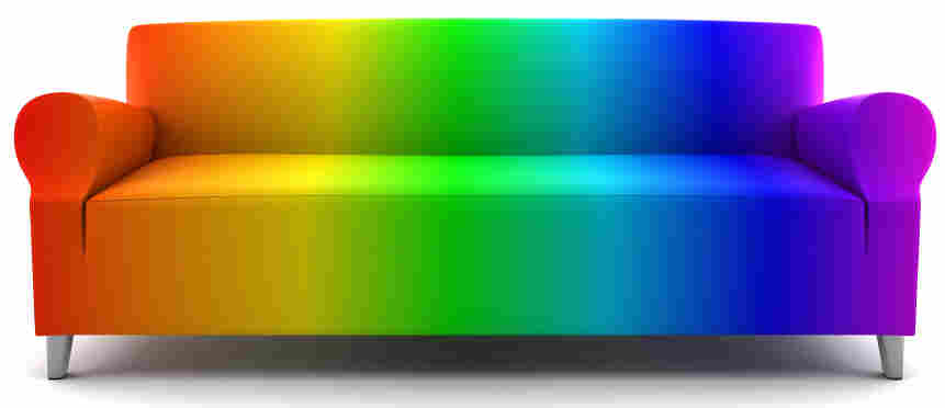 rainbow color couch isolated on white background