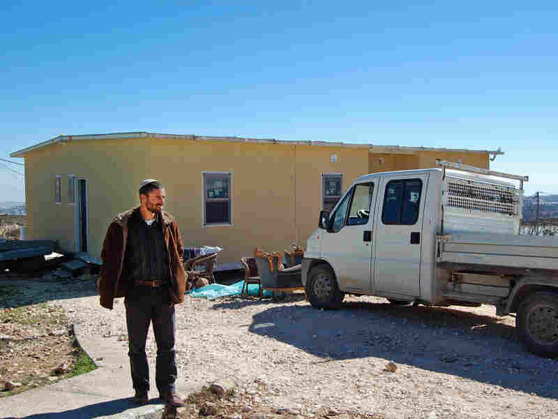 Jewish Israeli Nachum Pechenick outside his new house in Sde Boaz in the West Bank. If the area became part of an independent Palestinian state, Pechenick says, he would like to stay and become a Palestinian citizen.