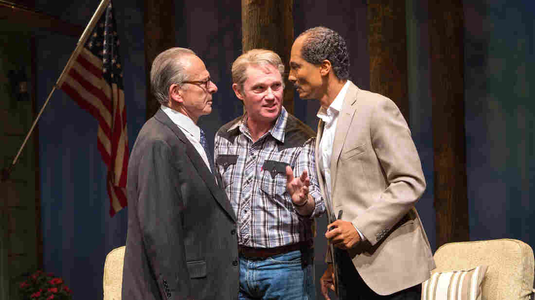 Ron Rifkin as Menachem Begin, Richard Thomas as Jimmy Carter and Khaled Nabawy as Anwar Sadat in the new play Camp David.