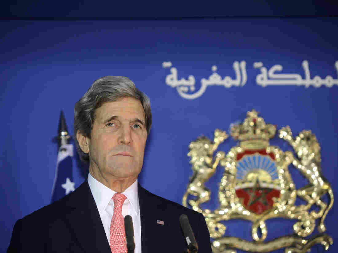 Secretary of State John Kerry speaks at a news conference with Moroccan Foreign Minister Salaheddine Mezouar following a bilateral strategic dialogue at the Foreign Ministry in Rabat, on Friday.