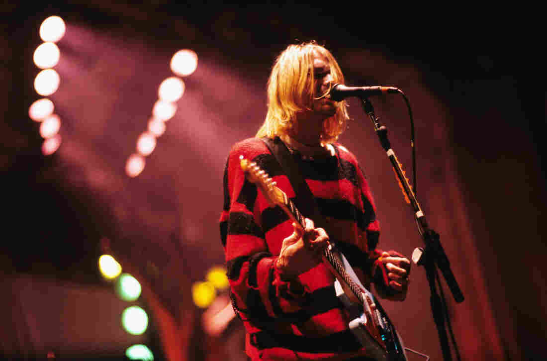 Kurt Cobain performs with Nirvana in 1993.