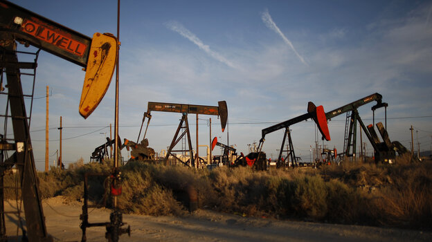 Gas and oil extraction using hydraulic fracturing, or fracking, is at the heart of the recent U.S. oil and gas boom. Here, an oil field on the Monterey Shale formation in McKittrick, Calif.