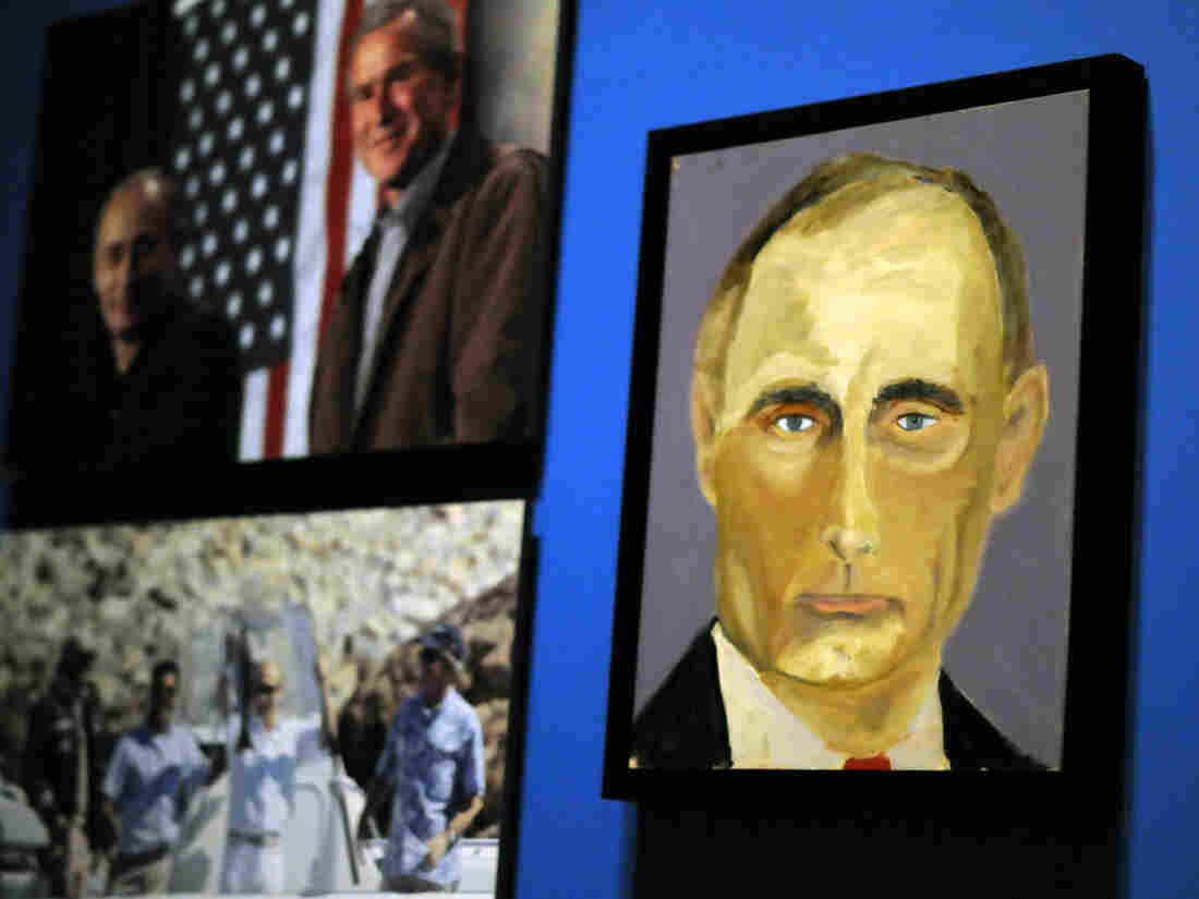 A portrait of Russian President Vladimir Putin is on display at the George W. Bush Presidential Library and Museum in Dallas.