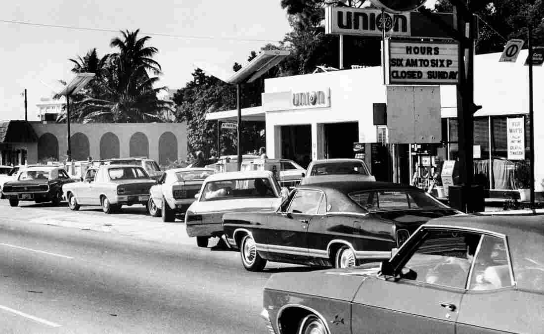 Motorists form a long line at a gas station in Miami, a scene that played out all over the country during the 1973 gas crisis.