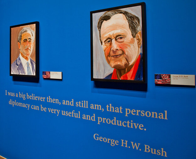 """Former President George W. Bush says his favorite from among the portraits he's painted of world leaders is the one he did of his father, former President George H.W. Bush. """"I painted a gentle soul"""