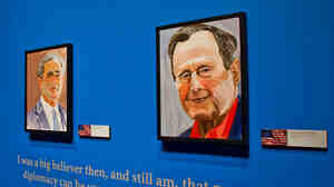 "Former President George W. Bush says his favorite from among the portraits he's painted of world leaders is the one he did of his father, former President George H.W. Bush. ""I painted a gentle soul,"" he says."