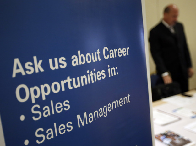 This recruiter was waiting to meet with job seekers at a career fair last year in King of Prussia, Pa.