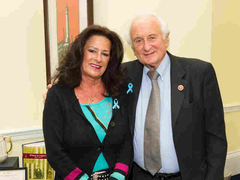 """Josie Maisano poses with her congressman, Democrat Sander Levin of Michigan. Levin says if Congress can't respond to people like Maisano, """"we've failed."""""""