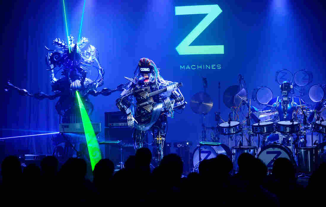 """Z-Machines, a """"power trio"""" designed by Japanese roboticists, on stage in Tokyo last year. The songs on Music for Robots, a new EP by the U.K. artist Squarepusher, is performed entirely by the group."""