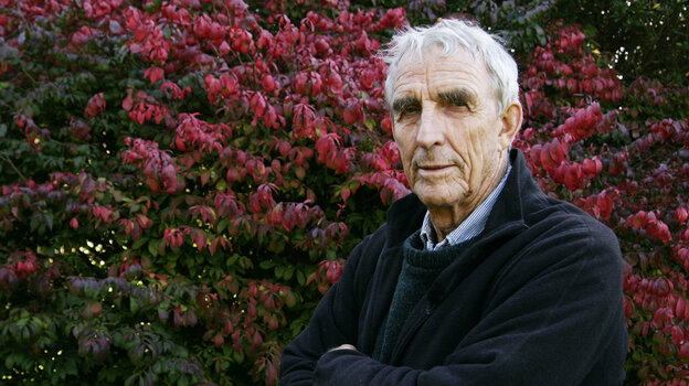 Writer Peter Matthiessen died Saturday at age 86 after a long fight with leukemia, according to his publisher. Here, he stands in the yard of his house in Sagaponack, N.Y., in 2004.