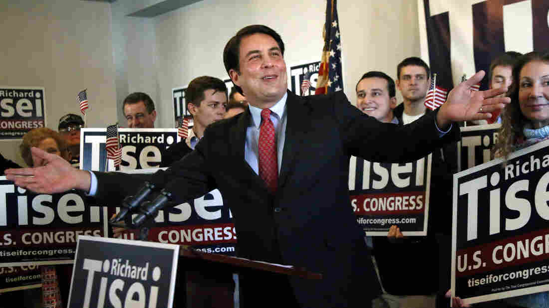 Former Republican Massachusetts state Sen. Richard Tisei announces his run for the 6th Congressional District seat held by John Tierney on Jan. 23 in Wakefield, Mass.