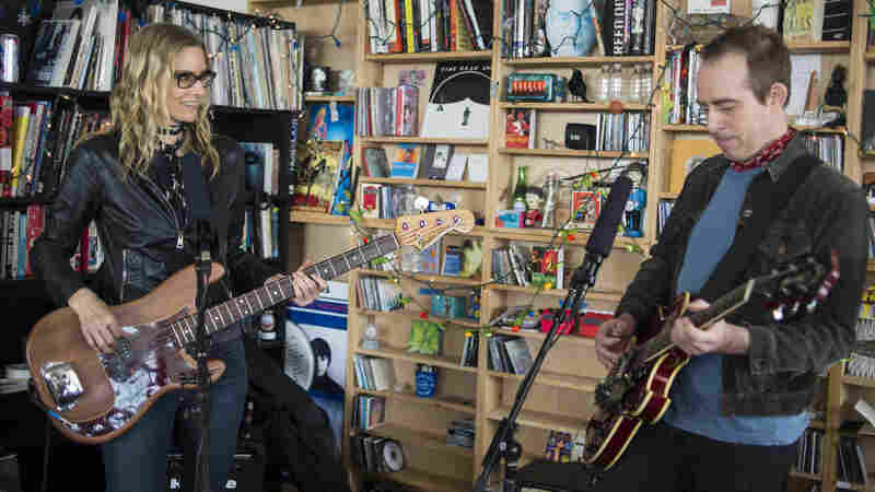 Aimee Mann and Ted Leo perform together as The Both at a Tiny Desk Concert in February 2014.