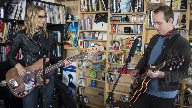 Aimee Mann and Ted Leo perform together as The Both at a Tiny Desk Concert in February 2014. (NPR)