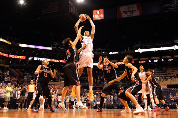 Brittney Griner puts up a shot against Japan during a 2013 preseason WNBA game in Phoenix.