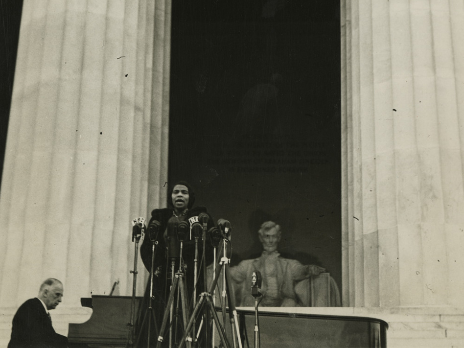 On April 9, 1939, contralto Marian Anderson sang before an audience of 75,000 people gathered at the Lincoln Memorial in Washington. (University of Pennsylvania)