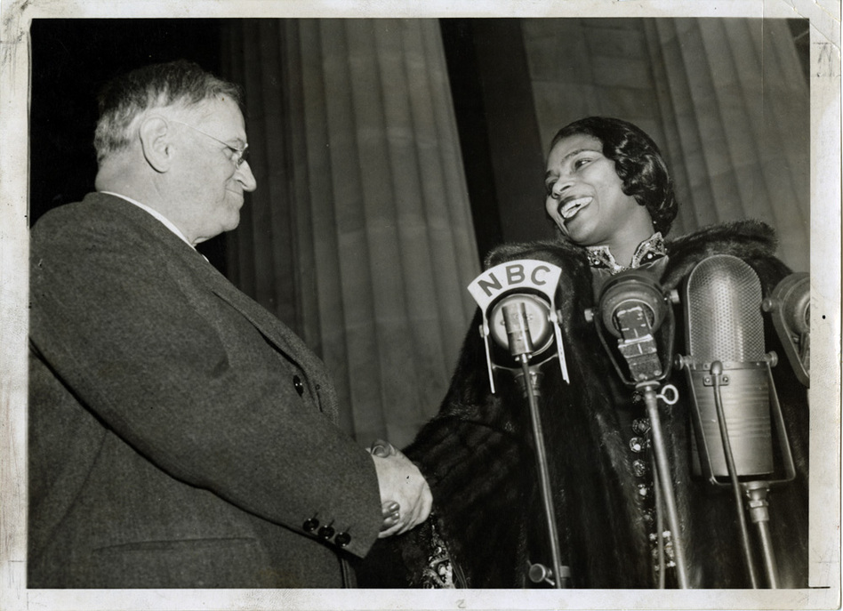 "Interior Secretary Harold Ickes facilitated the concert and introduced Anderson, saying: ""In this great auditorium under the sky, all of us are free. Genius, like justice, is blind. Genius draws no color lines."" (University of Pennsylvania)"