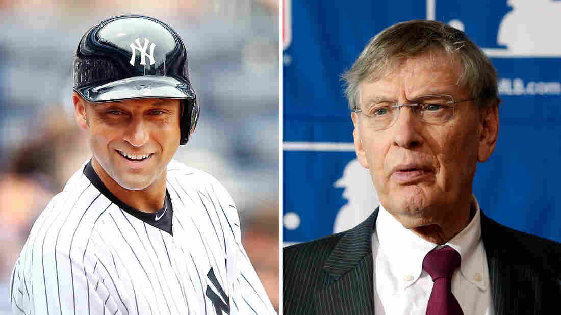 Derek Jeter (left) of the New York Yankees on July 11, 2013 at Yankee Stadium. Major League Baseball Commissioner Bud Selig (Right) speaks during a news conference on Aug. 15, 2013, in Cooperstown, N.Y.
