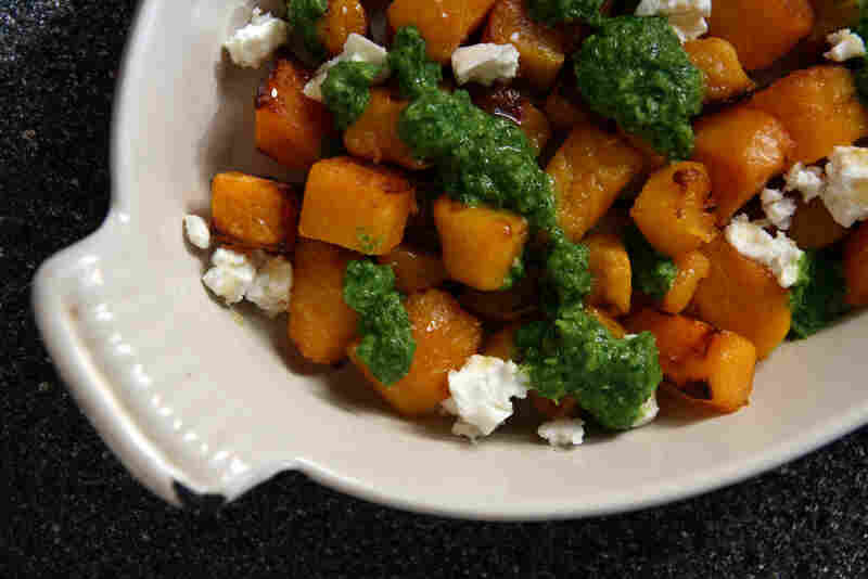 Honey-Roasted Smashed Winter Squash With Feta And Zhoug