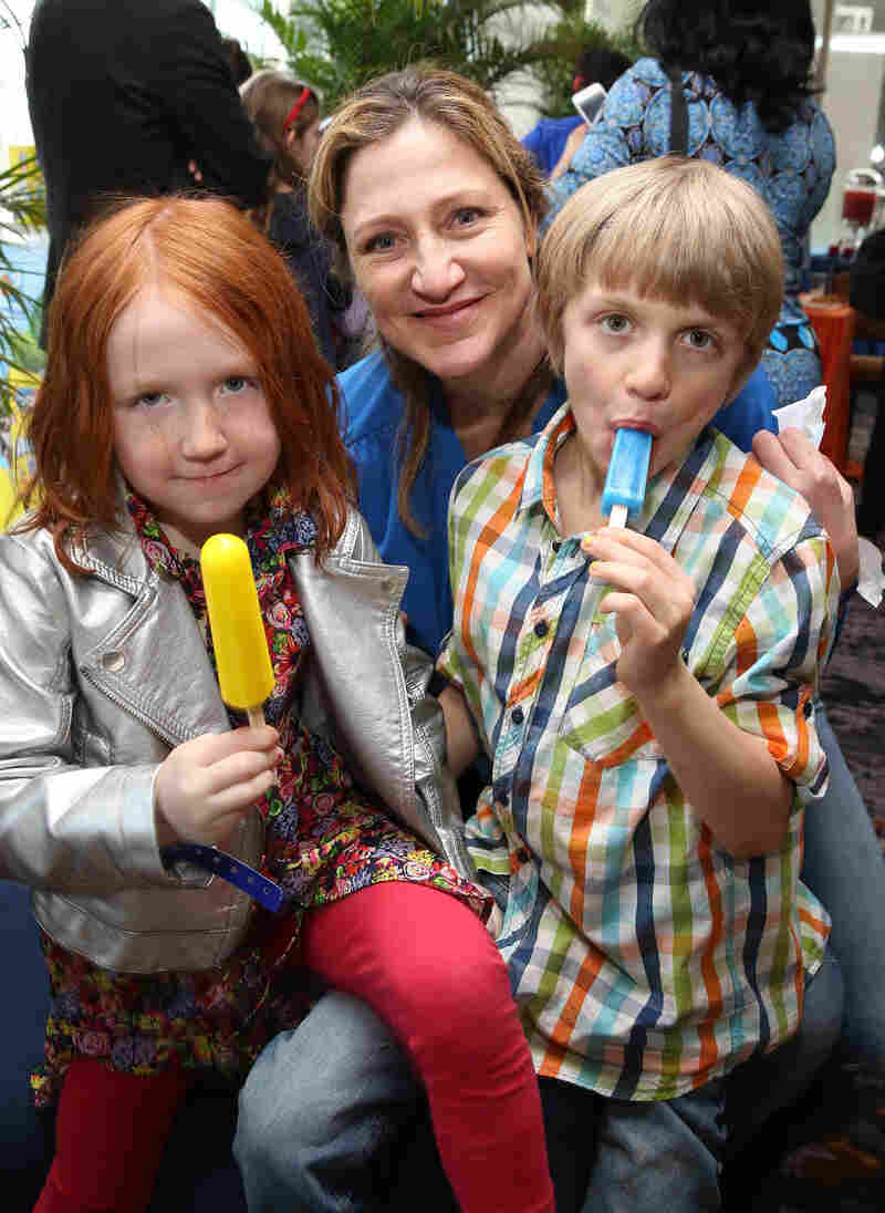 Falco and her children, Macy and Anderson, enjoy a frozen treat at the Rio 2 screening after-party in New York in March.