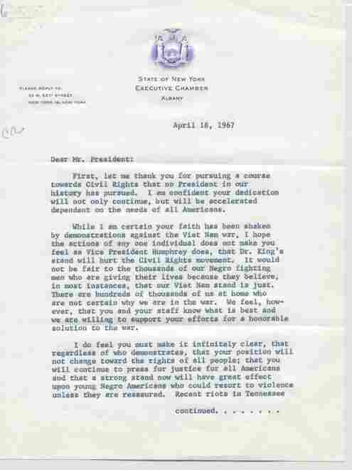 This 1967 letter from Jackie Robinson touches on the two biggest policy dilemmas Johnson had to navigate: the war in Vietnam abroad and the civil rights movement at home. Robinson urged Johnson not to let the war's growing unpopularity — Martin Luther King had become a vocal opponent of the war — distract Johnson from the momentum of the civil rights movement.