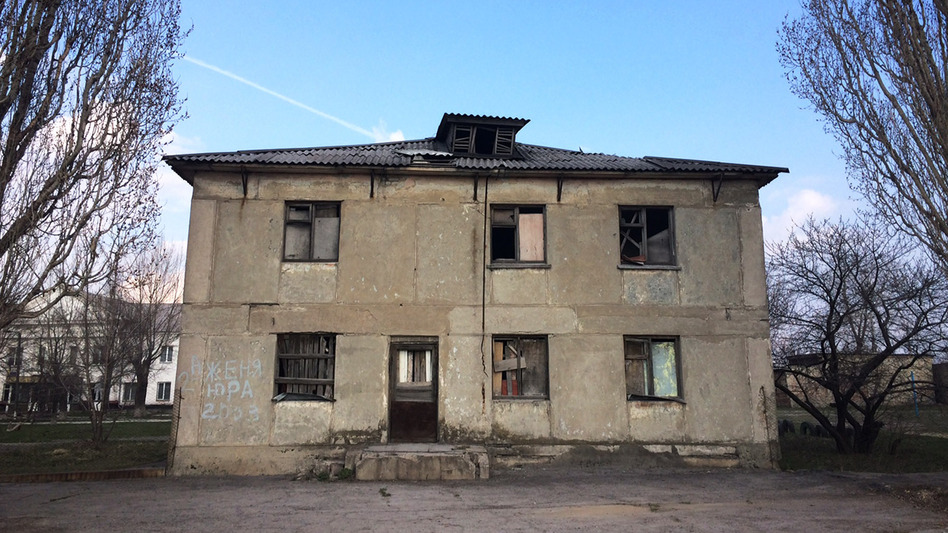 Perewalsk is littered with abandoned buildings. This one used to be a dormitory for a school that taught people how to work in coal mines. It has been closed since the USSR collapsed in 1991. (Ari Shapiro/NPR)