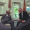 LBJ meets with Solicitor General Thurgood Marshall just before announcing his nomination to the Supreme Court.