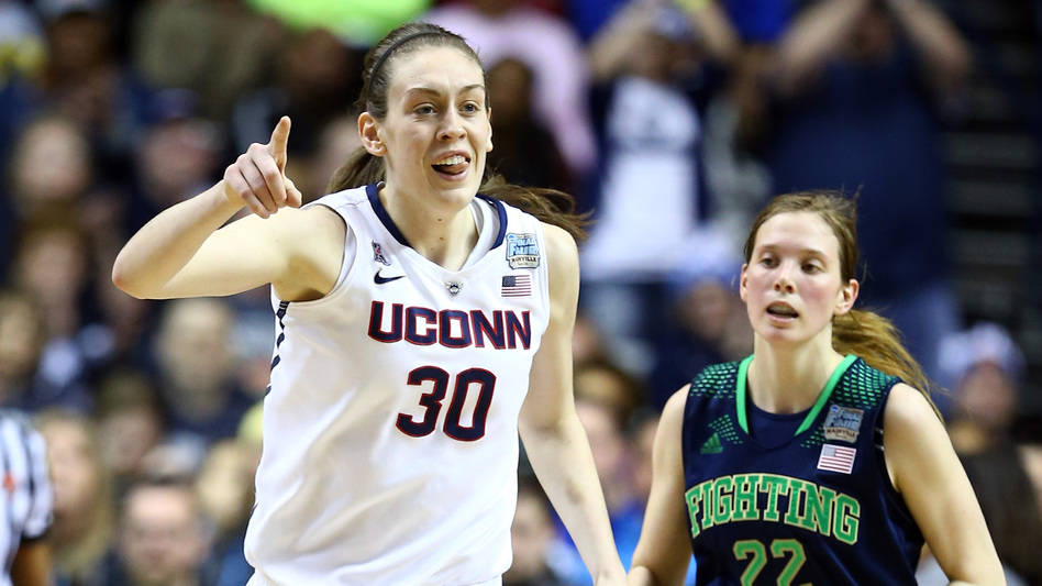 They're No. 1: Breanna Stewart of the Connecticut Huskies reacts after a score during Tuesday night's game against Notre Dame. Her team won its ninth national championship. (Getty Images)