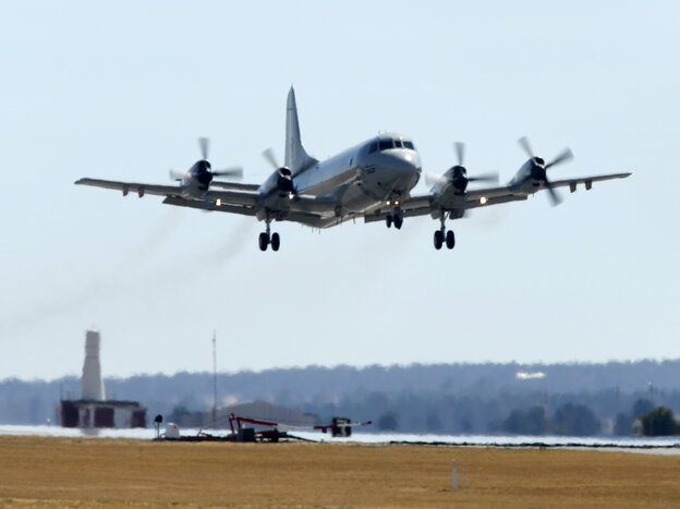 A Republic of Korea P-3 Orion aircraft takes off from the Royal Australian Air Fo