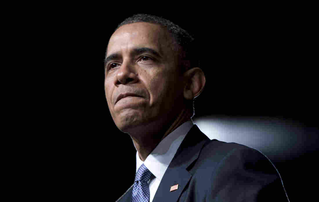 President Obama pauses while speaking at the LBJ Presidential Library, on Thursday in Austin, Texas.