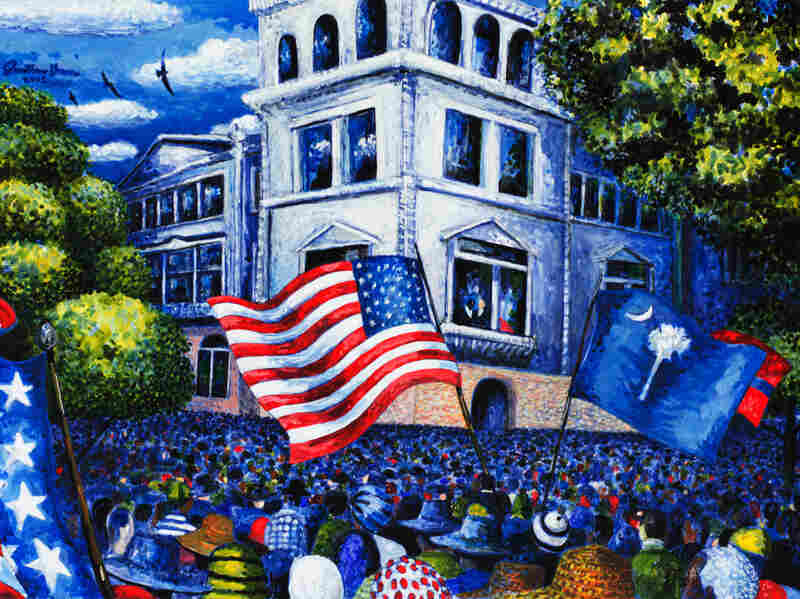 This painting, by artist Jonathan Green, captures the scene outside the Charleston Federal Courthouse on the day oral arguments were heard in the Briggs v. Elliott case challenging racial segregation in public schools.