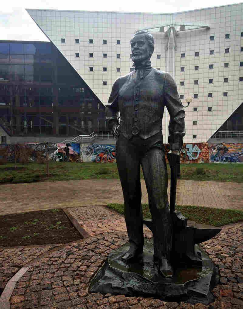 The statue of John Hughes — cast in iron, naturally — oversees downtown Donetsk.