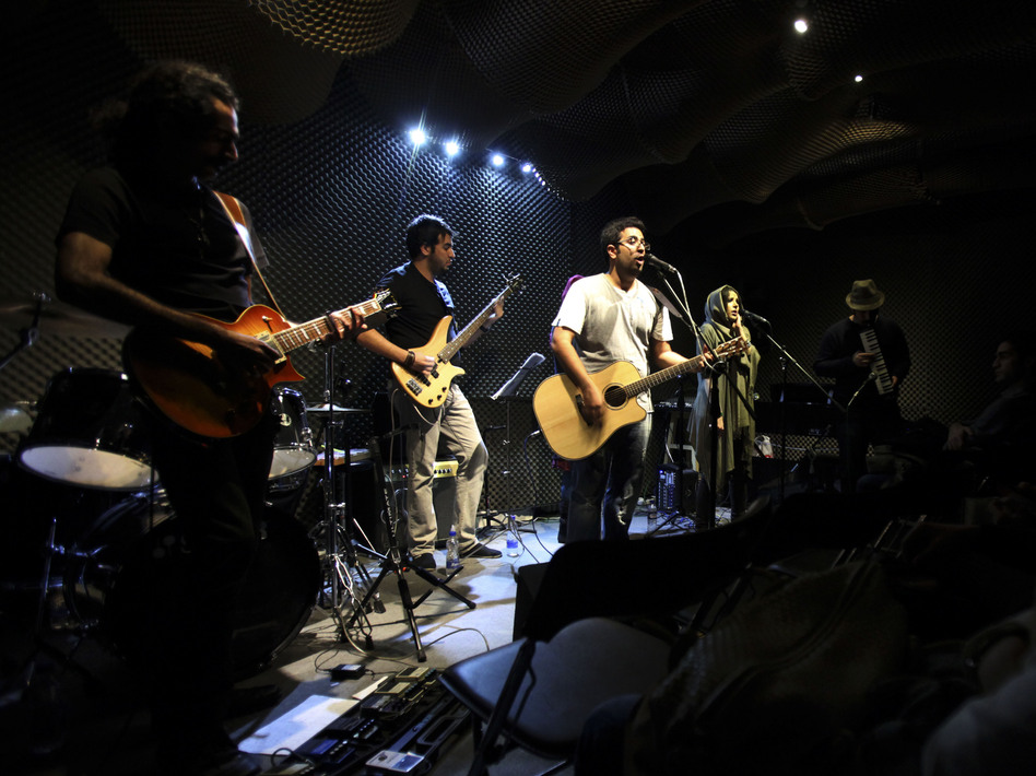 Members of the Iranian band Accolade perform in an unauthorized stage performance in the capital Tehran in January 2013. Those seeking greater social freedoms are often testing the limits in Iran.