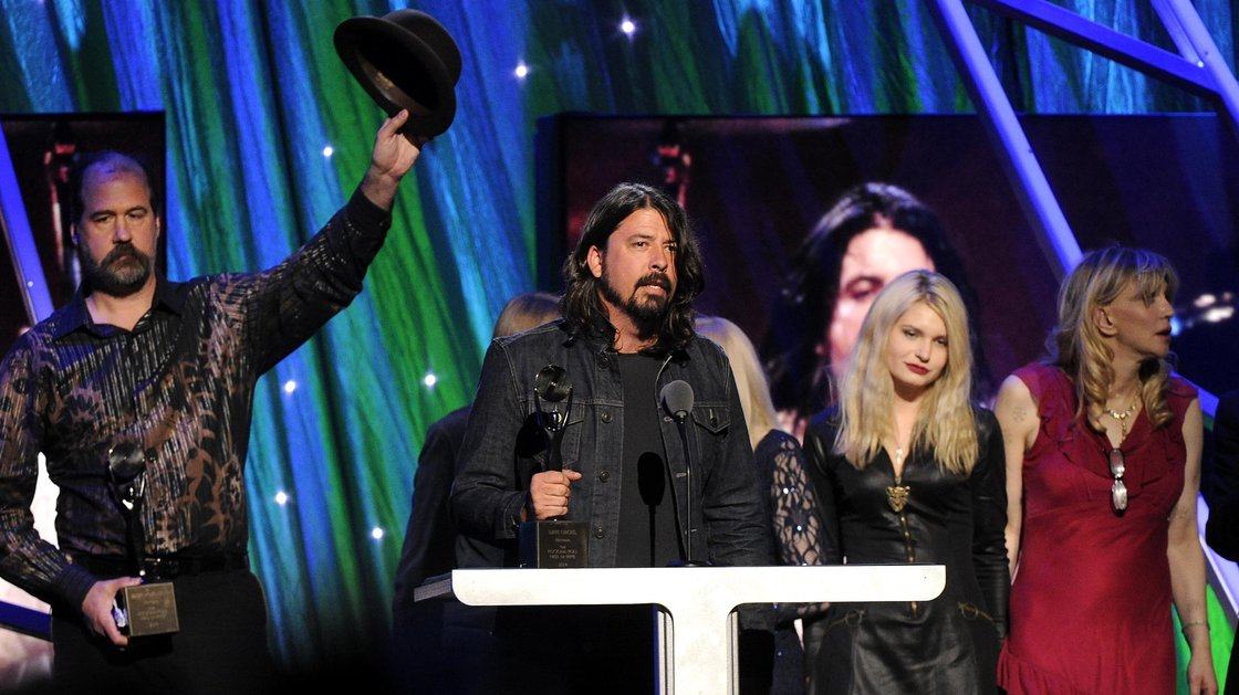 Nirvana's Krist Novoselic and Dave Grohl at the 2014 Rock and Roll Hall of Fame induction ceremony on Thursday in New York. Leader Kurt Cobain committed suicide 20 years ago.