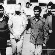 Hostages being held at the U.S. Embassy in Tehran in November 1979.  Iran's choice for U.N. ambassador, Hamid Aboutalebi, has acknowledged that he was an interpreter for the student group that seized the compound.