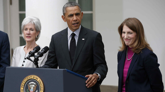 President Obama, flanked by outgoing Health and Human Services Secretary Kathleen Sebelius (left) and his nominee to be her replacement, Budget Director Sylvia Mathews Burwell, speaks in the Rose Garden of the White House Friday.