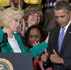 President Obama, pictured here with Lilly Ledbetter, and congressional Democrats are working the equal pay issue hard in a midterm election year when they will need as many women to vote as possible.