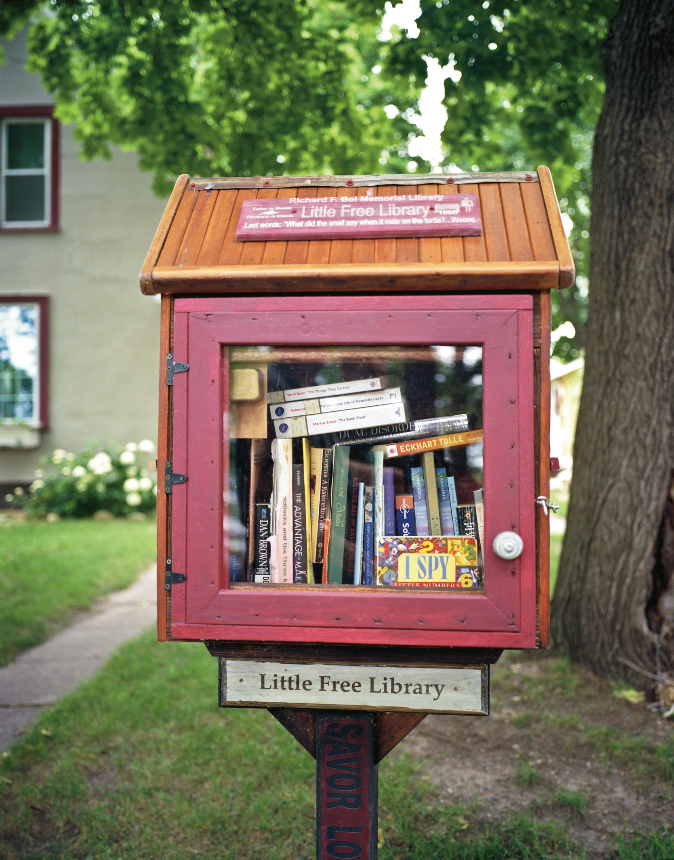 Richard F. Boi Memorial Library's first Little Free Library in Hudson, Wis. (2012)