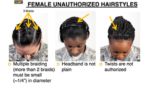 According to a US Army PowerPoint presentation, none of these three hairstyles would be acceptable under the new regulations.