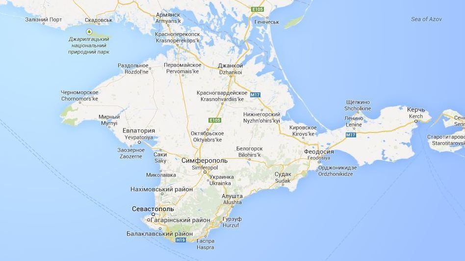 Ukraine's Google Maps uses a thin dashed line, which simply indicates a provincial border. (google.com.ua)