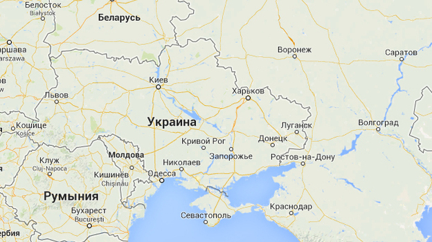 A Google Maps image from its Russian service depicts Crimea (bottom center) with a solid line, reflecting an international border between it and Ukraine. Versions of the map on other Google sites show it with a dotted line. (Google Maps)