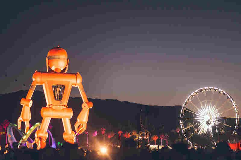 Robot surveys its domain at night.
